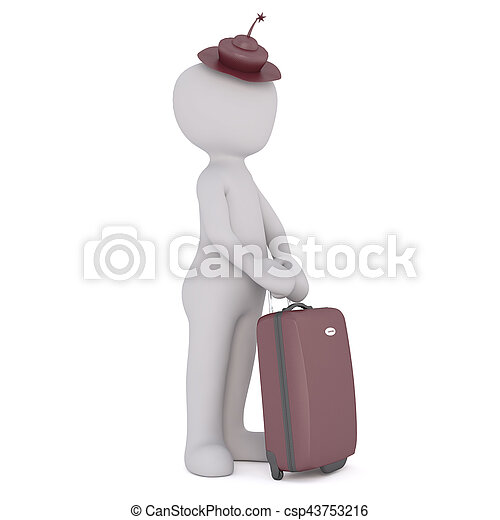 Cartoon Figure in Hat Going on Vacation with Case - csp43753216