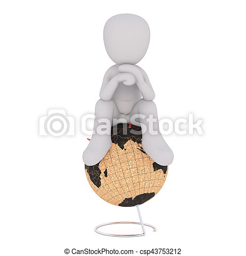 Cartoon Figure Sitting in Thought on top of Globe - csp43753212