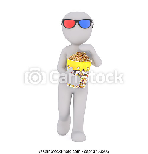 Cartoon Figure with Popcorn Going to 3D Movie - csp43753206