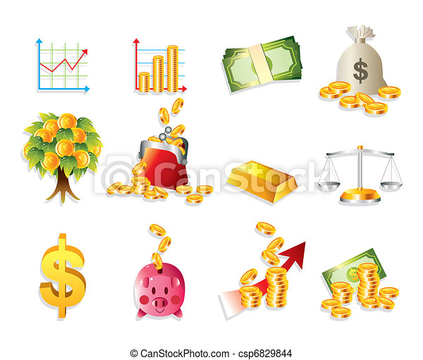 cartoon Finance & Money Icon set - csp6829844