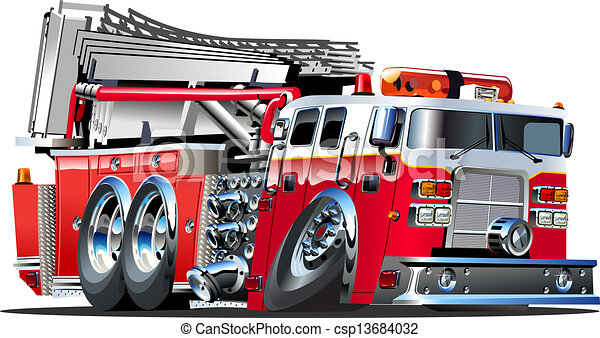 vector cartoon fire truck lowroder available eps 10 vector format