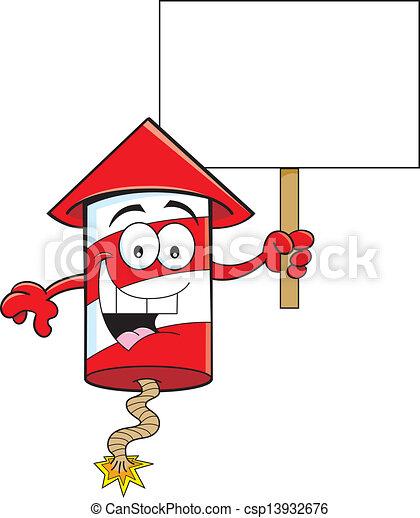 Cartoon Firecracker Holding a Sign - csp13932676