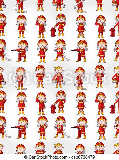 cartoon Fireman seamless pattern  - csp6738479