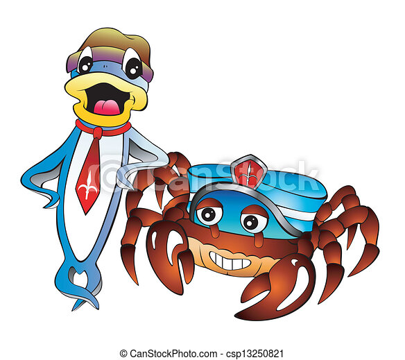 cartoon fish and crab fish and crab with dress cartoon style rh canstockphoto com Ocean Clip Art Sun Clip Art