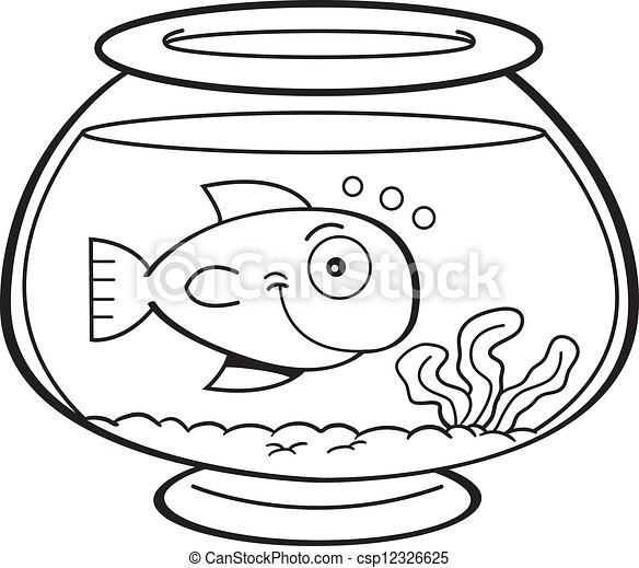Cartoon Fish In A Fish Bowl Black And White Illustration Of A Fish