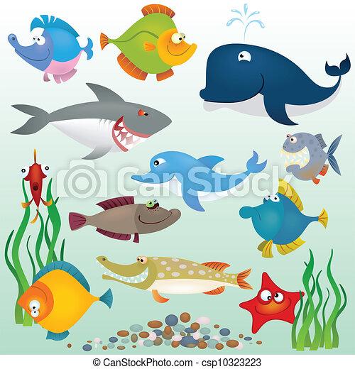 Cartoon fish set - csp10323223