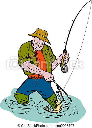 illustration of a cartoon fisherman fly fishing with a net stock rh canstockphoto com Net Fishing Boat Clip Art Cartoon Fishing Net