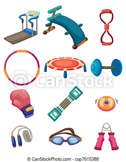 cartoon fitness equipment icons vector search clip art rh canstockphoto com  sports equipment clipart