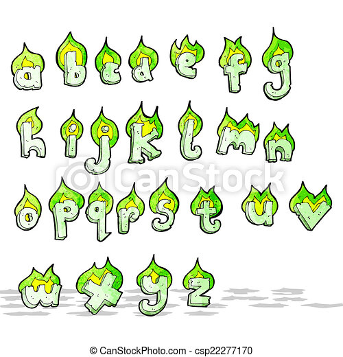 cartoon flaming green letters alphabet - csp22277170