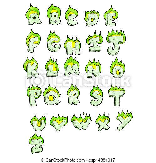 cartoon flaming green letters alphabet - csp14881017