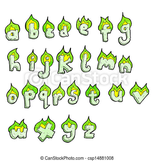 cartoon flaming green letters alphabet - csp14881008