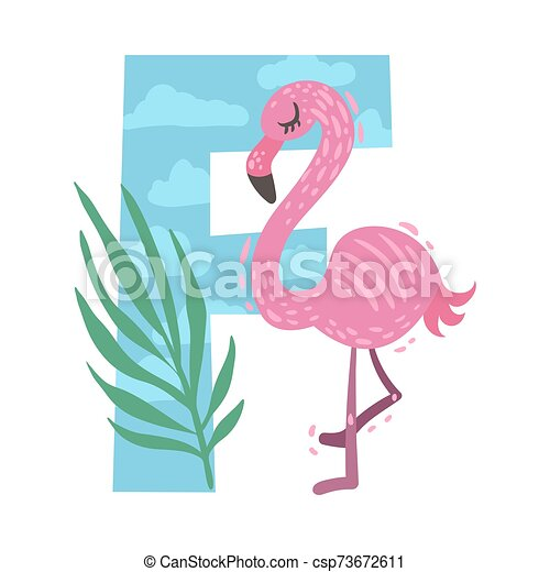 Cartoon flamingo with the letter F. Vector illustration on a white background. - csp73672611