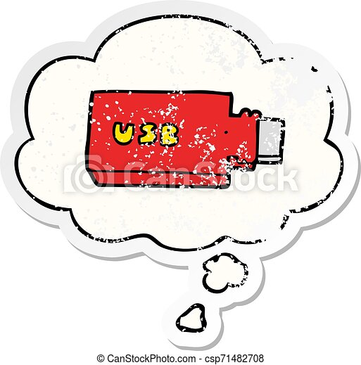 cartoon flash drive and thought bubble as a distressed worn sticker - csp71482708