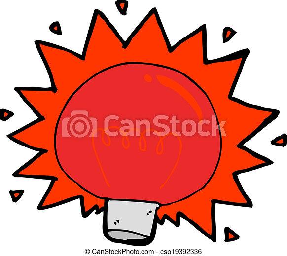 Cartoon Flashing Red Light Bulb   Csp19392336