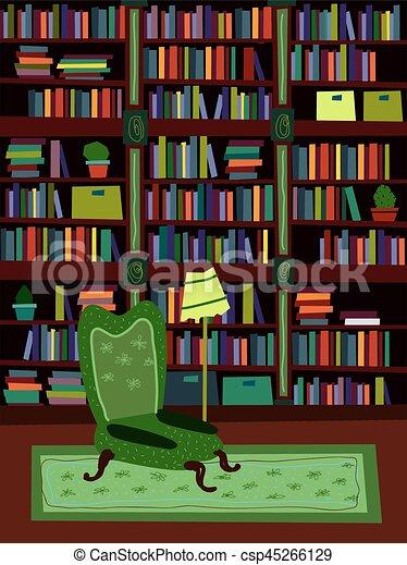 Cartoon Flat Interior Library Room Or Office Psychologist