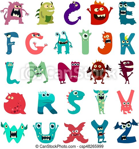 Cartoon flat monsters alphabet big set icons. Colorful monster kids toy cute monsters tongue. Vector - csp48265999