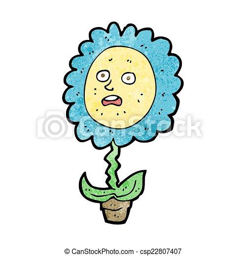cartoon flower with face - csp22807407