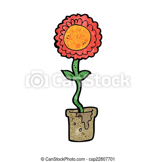 cartoon flower with face - csp22807701