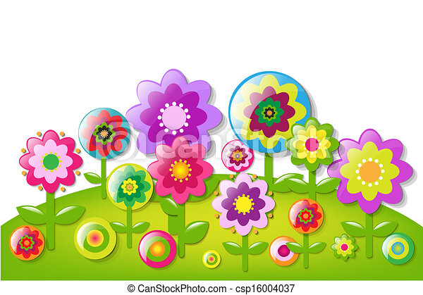 Cartoon Flowers Border With Gradient Mesh Vector Illustration