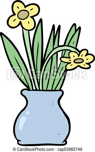 Cartoon Flowers In Vase