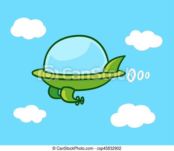 Cartoon Flying Car Cute Cartoon Futuristic Flying Car In Sky