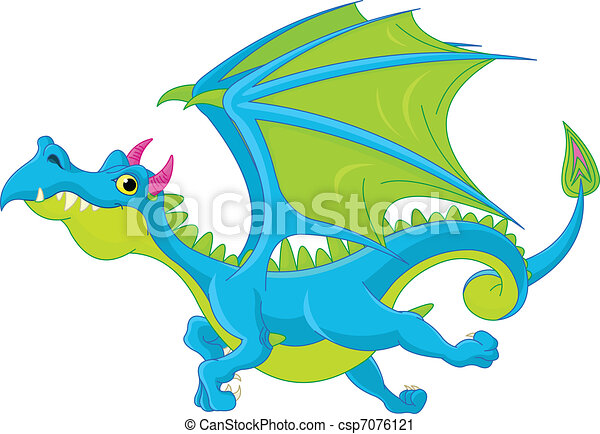 Cartoon flying dragon - csp7076121