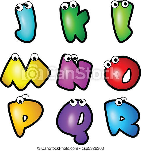 Cartoon Font Type_Letter J to R - csp5326303