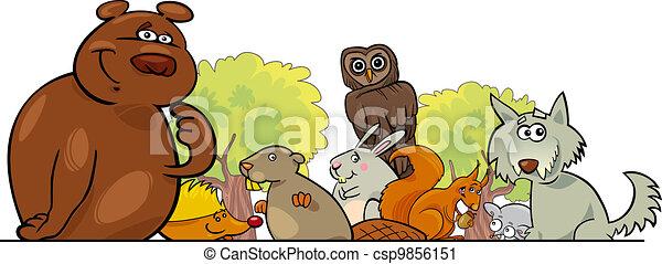Cartoon forest animals design - csp9856151