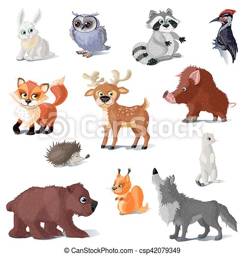 Cartoon Forest Animals Set - csp42079349