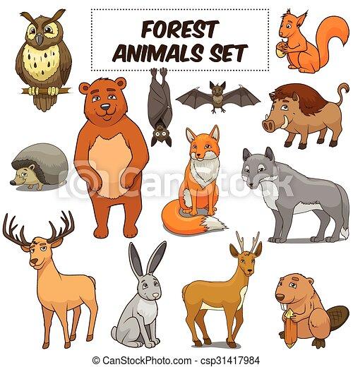 Cartoon forest animals set vector - csp31417984