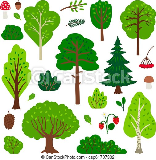 Cartoon Forest Tree Set Simple Vector Green Tree Set Isolated On White Background Canstock Once you get the basics down, you can expand and create different designs. https www canstockphoto com cartoon forest tree set 61707302 html