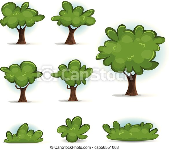 Cartoon Forest Trees, Bush And Hedges - csp56551083