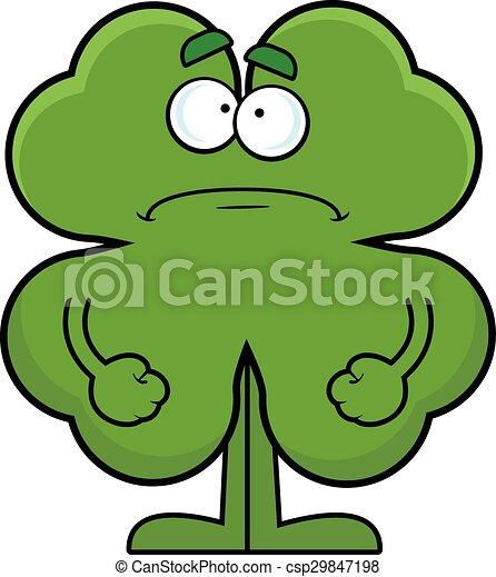 cartoon four leaf clover frowning cartoon illustration of a eps rh canstockphoto com four leaves clover cartoon four leaf clover cartoon images