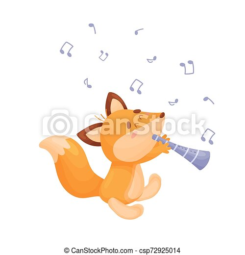 Cartoon fox with a pipe. Vector illustration on a white background. - csp72925014