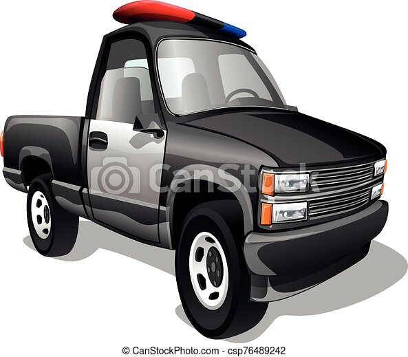Cartoon freight police pickup car isolated on a white background. Vector illustration. - csp76489242