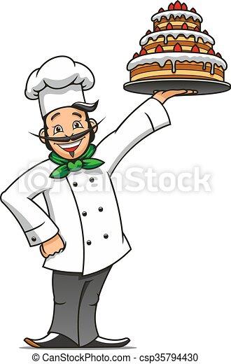 Cartoon french chef with chocolate cake - csp35794430