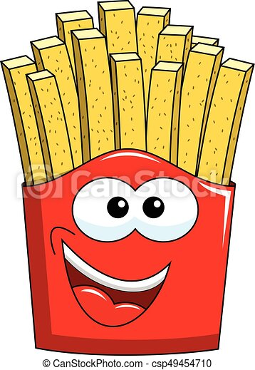 Cartoon french fries character isolated on white vector ...