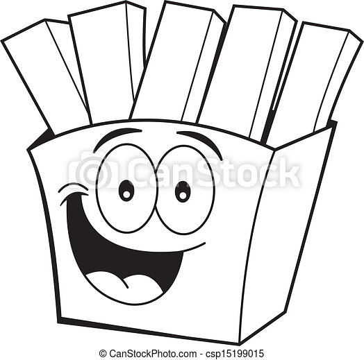 Cartoon French Fries Black And White Illustration Of Smiling French