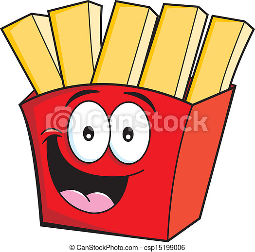 Cartoon French Fries Cartoon Illustration Of Smiling French Fries