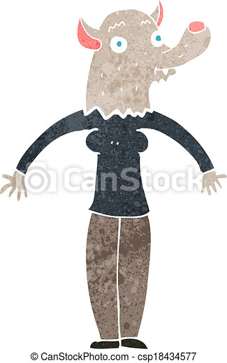 cartoon friendly werewolf woman - csp18434577