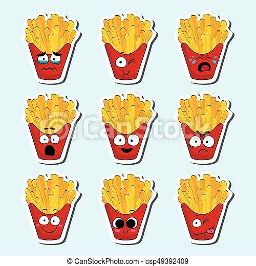 cartoon fries cute character face sticker cartoon fries