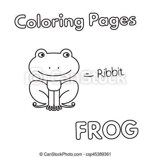 Cartoon frog coloring book. Cartoon frog illustration. vector ...