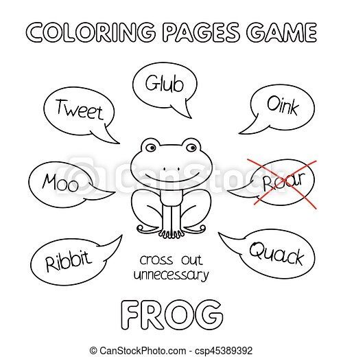 Cartoon frog coloring book. Funny frog kids learning game.... eps ...
