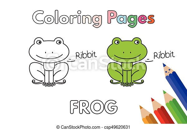Cartoon Frog Coloring Book Cartoon Frog Illustration Vector