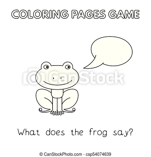 Cartoon frog coloring book. Funny frog kids learning game ...
