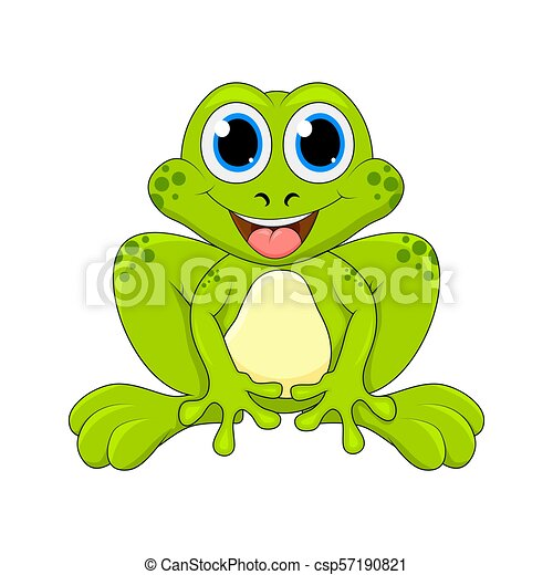 Cartoon frog cute character isolated on white background - csp57190821