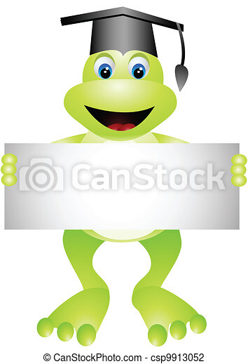 cartoon frog with blank sign - csp9913052