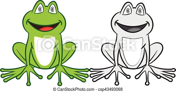 Cartoon Frog With Colorful And Black White Coloring Book For Children