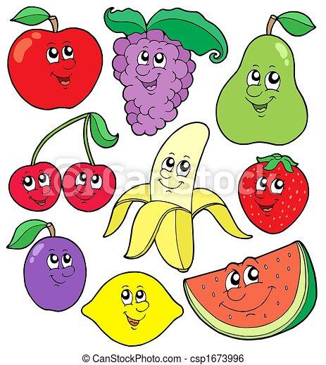 Cartoon fruits collection 1 - csp1673996