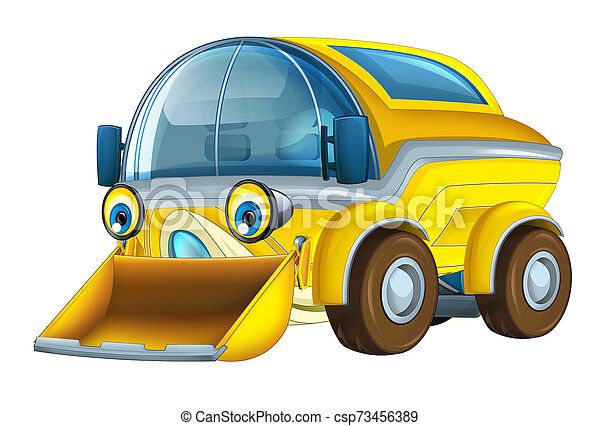 Cartoon funny and happy looking truck street cleaner on white background - illustration for children - csp73456389